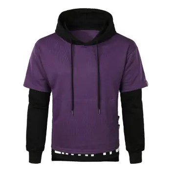 Layered Bottom False Two Pieces Letter Hoodie