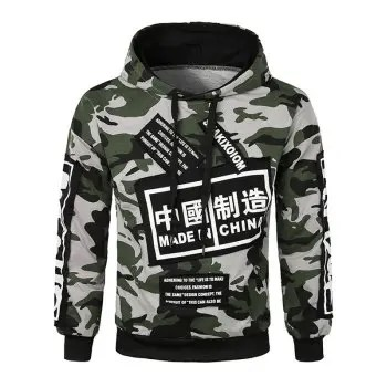 Chinese Characters Letter Applique Pullover Hoodie