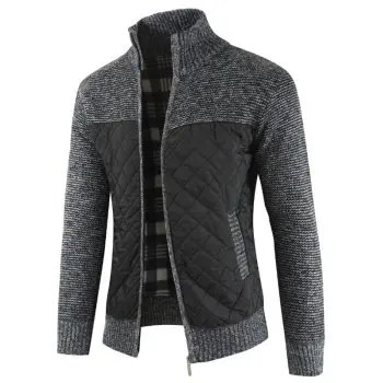 Casual Zip Up Pockets Patchwork Cardigan