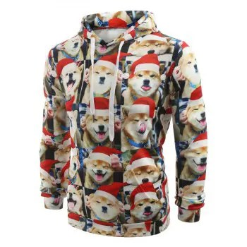 Christmas Puppy Expression Series Print Casual Hoodie