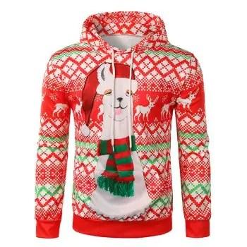 Christmas Alpaca Printed Hoodie