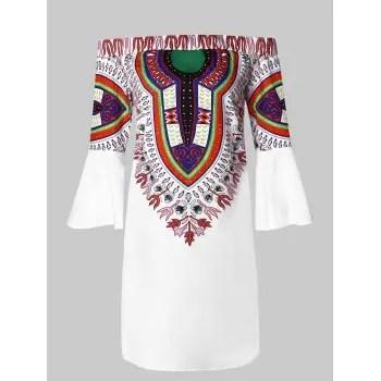 Off the Shoulder Ethnic Print Flare Sleeve Dress