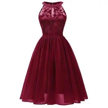 Lace Insert Chiffon Dress