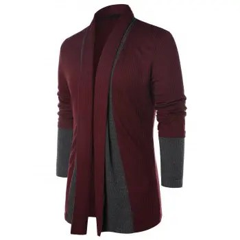 Color Block Long Sleeve Coat