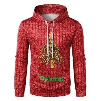 Christmas Diamond Tree Printed Hoodie