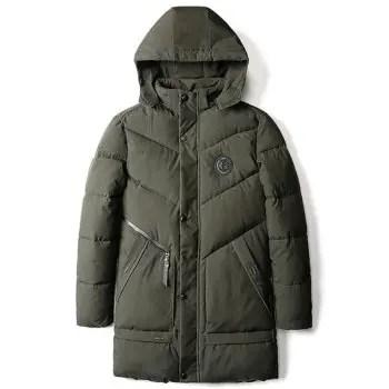 Letter Applique Padded Hooded Longline Coat