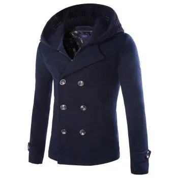 Faux Twinset Double Breasted Hooded Coat