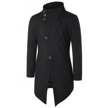 Asymmetric Stand Collar Button Up Coat