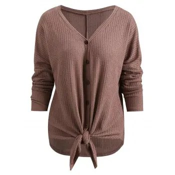 Drop Shoulder Button Up Blouse