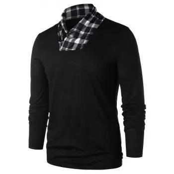 Shawl Collar Checked Panel T shirt