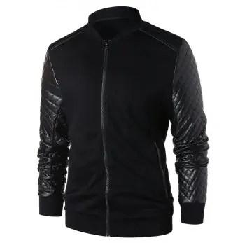 PU Leather Panel Zip Up Jacket