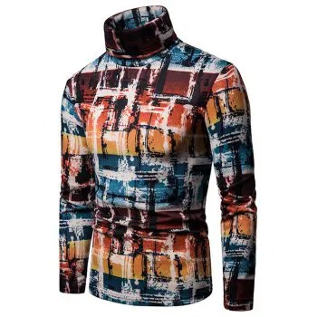 Abstract Colorful Painting Turtleneck Thin Sweater