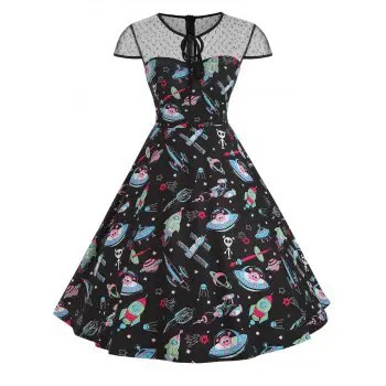 Keyhole Print Dress