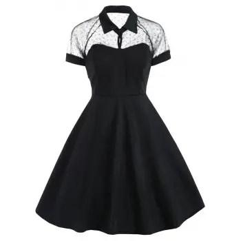 Mesh Panel Vintage Dress