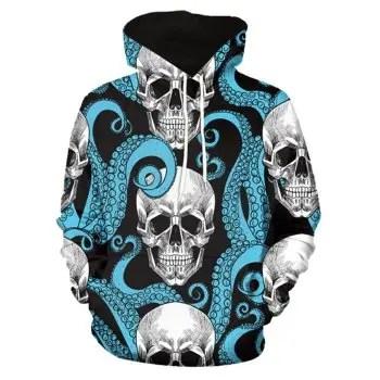 Octopus Skull Printed Hoodie