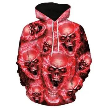 3D Skulls Print Pullover Hoodie