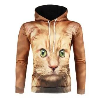 3D Cat Print Hoodie