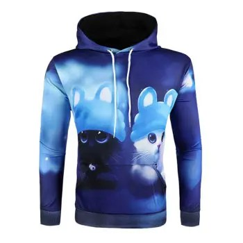 3D Cartoon Animal Print Hoodie