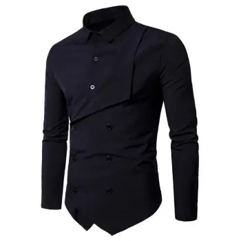 Lapel Double Breasted Placket Patchwork Long Sleeve Shirt
