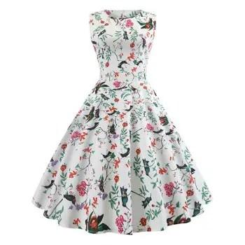 Floral and Bird Print Dress