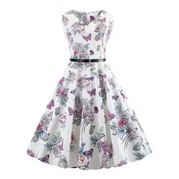 Butterfly and Flower Print Dress