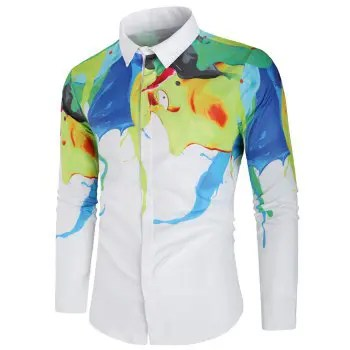Painting Print Long Sleeves Button Up Shirt