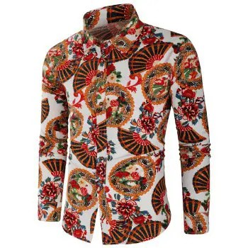 Flowers Fan Print Long Sleeves Shirt
