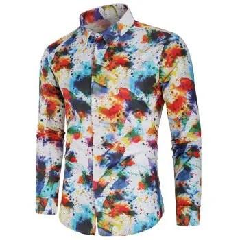 Ink Splash Painting Print Long Sleeves Shirt