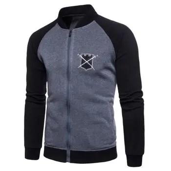 Baseball Style Chest Applique Zipper Up Fleece Sweatshirt