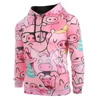 ZAFUL Cartoon Pig Pattern Hoodie