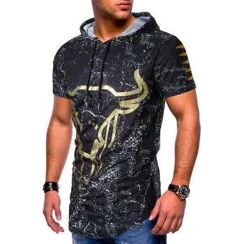 Ink Dots Cow Head Print Hooded Short Sleeves T shirt