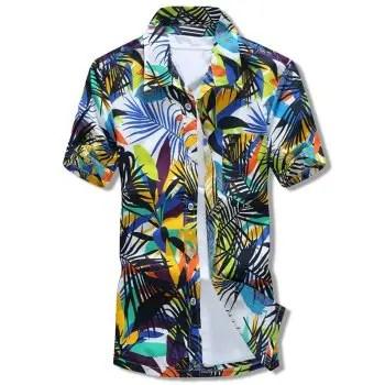 Plants Leaves Print Beach Short Sleeves Shirt