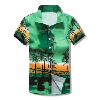 Coconut Trees Scenery Print Beach Short Sleeves Shirt