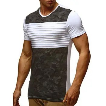 Stripes Camouflage Print Short Sleeves T shirt