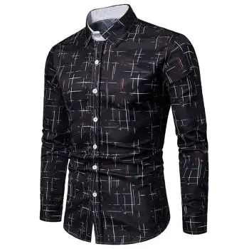 Button Up Lines Print Casual Shirt