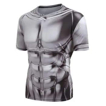 Short Sleeves Armor Printed Casual T shirt