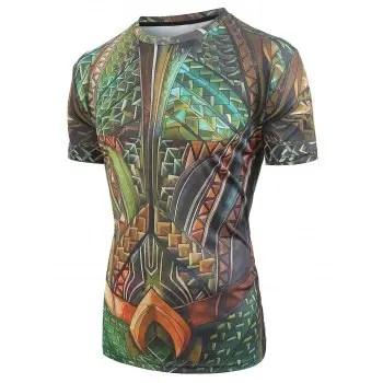 Short Sleeves Faux Belt Print Casual T shirt