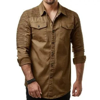 Long Sleeves Button Up Solid Color Casual Shirt