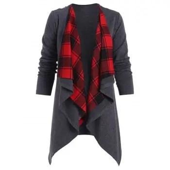 Plaid Draped Jacket
