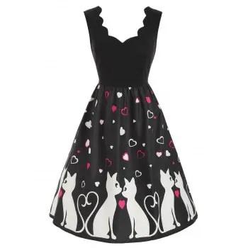 Valentine Cat Heart Dress