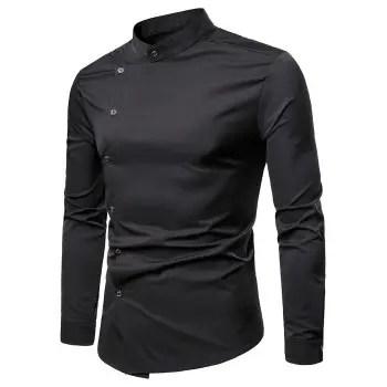 Diagonal Placket Button Up Shirt
