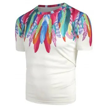 Multicolor Feather Print Tee