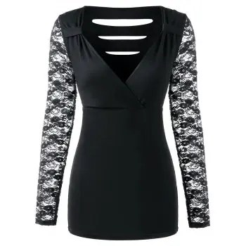 Lace Sleeve Low Cut T shirt