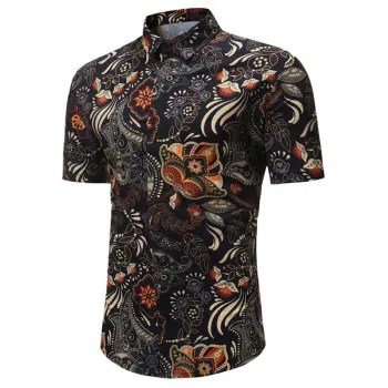 Short Sleeves Flowers Paisley Print Casual Shirt