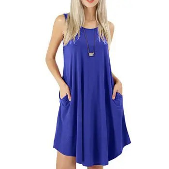 Sleeveless Round Neck Swing Dress