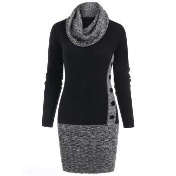Panel Cowl Neck Bodycon Sweater Dress