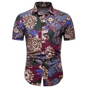 Flowers and Fish Scale Print Short Sleeve Shirt