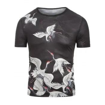 Cranes Print Jacquard Tee