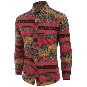 Ethnic Tribal Print Long Sleeves Shirt