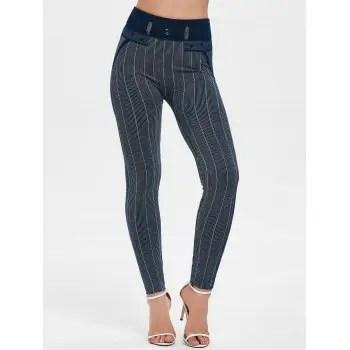 Striped High Waist Skinny Pants